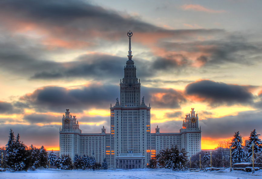 Los siete rascacielos de Stalin Moscow_State_University_sunset2