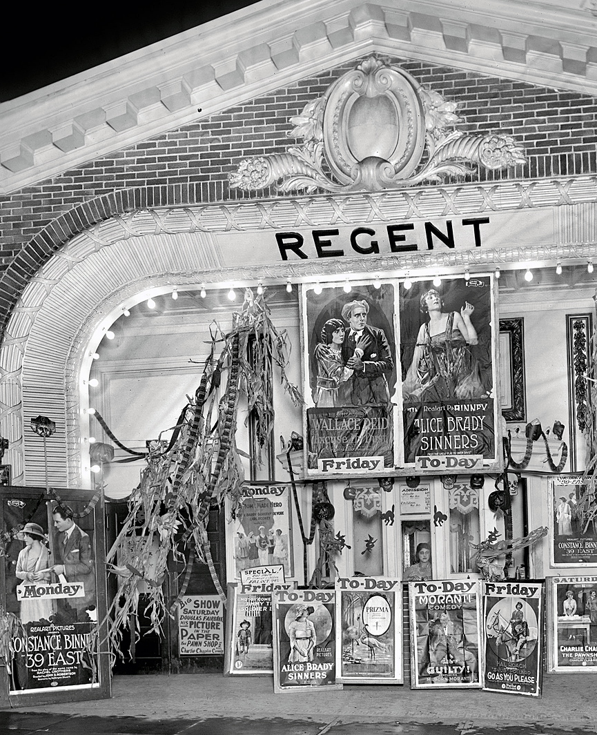 Local de cine y teatro Lust's Regent. Washington, 1920. Herbert A. French, Librería del Congreso