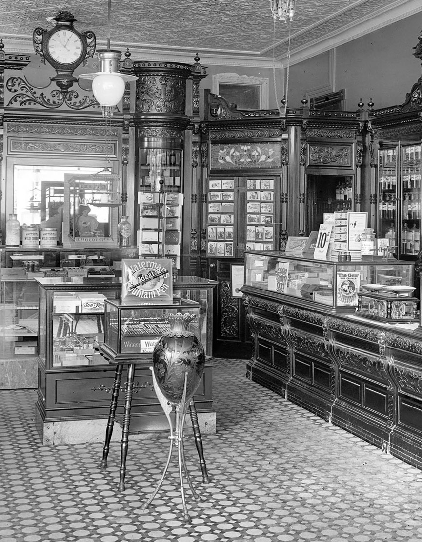 Farmacia Weller en Washington. 1915. Shorpy