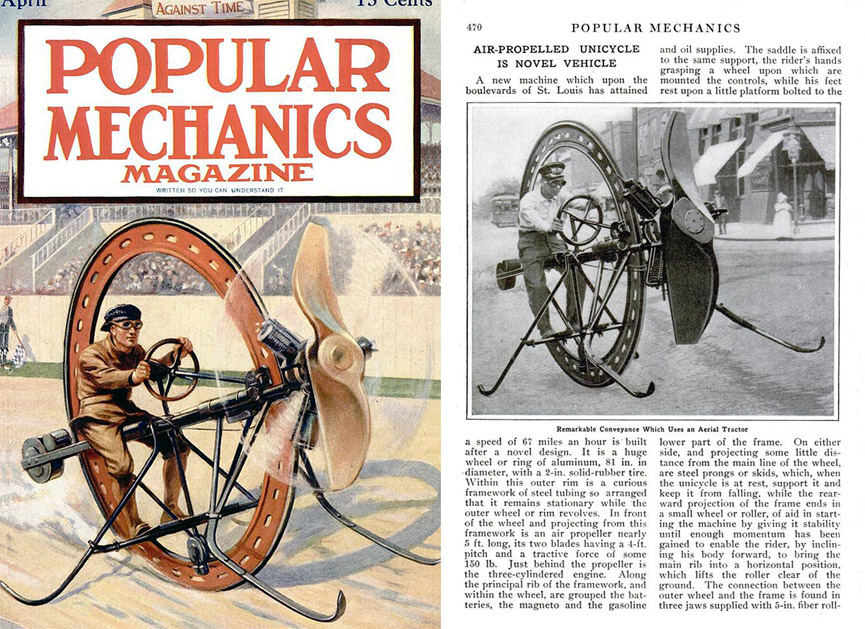 Monociclo D'Harlingue de hélice en la revista Popular Mechanics. Abril, 1914. Popular Mechanics